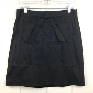 Odille (Anthro) Black Cotton Skirt, Lace & Bow 6